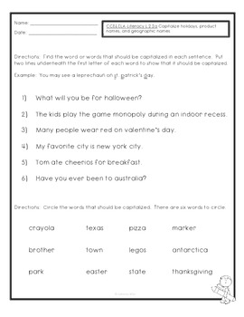 ~Freebie~ Common Core- ELA- L.2.2.a.- Capitalization Quiz or Worksheet