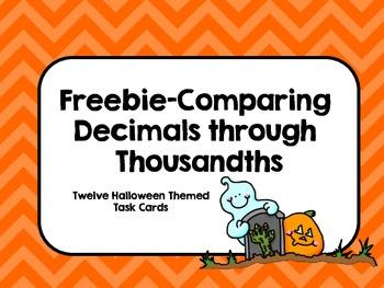 Freebie-Comparing Decimals through Thousandths