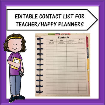Teacher Planner/Happy Planner - Contacts Pages Freebie