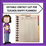 Editable Teacher Planner Contacts List Pages Freebie