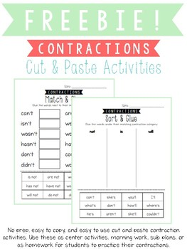 Freebie Contractions Cut and Paste