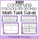 Freebie Converting Fractions and Decimals Task Cards for 4th Grade