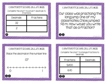 4th Grade Freebie Converting Fractions and Decimals Center