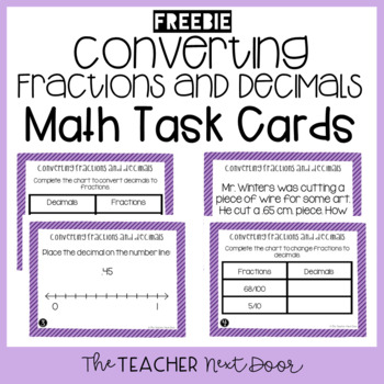Freebie Converting Fractions and Decimals Task Cards for 4
