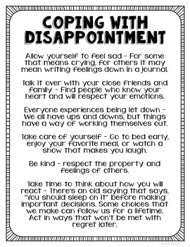 Freebie! Coping with Disappointment Poster, Handout, Counselor Resource