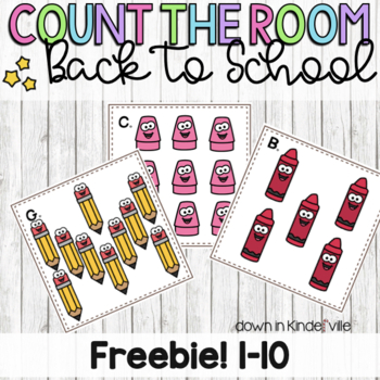 Freebie! Count the Room Back to School/ School Supplies! or Morning meeting game