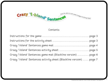"[Freebie] ""Crazy L-blend Sentences"" Speech Artic Activity"
