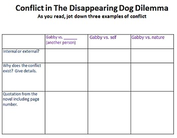 Freebie! The Disappearing Dog Dilemma novel study