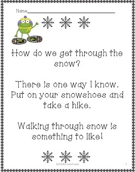 Freebie: Dashing Through the Snow Winter Literacy for PreK and Kindergarten