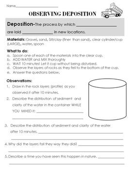 Freebie! Deposition in a Jar Station Activity- Part of a larger bundle!