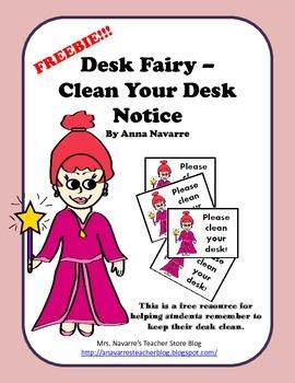 Freebie! Desk Fairy Clean Your Desk Notice