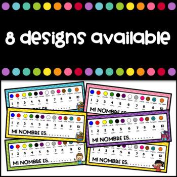 Freebie Desk plates with colors and numbers in Spanish
