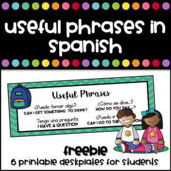 Freebie - Desk plates with useful phrases in Spanish