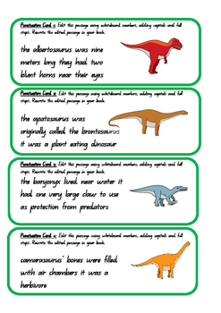Free Dinosaur Editing Task Cards High Interest Low Level C2C ACARA Common Core