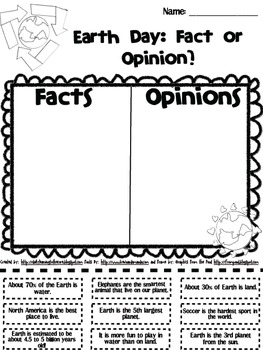Earth Day Fact and Opinion