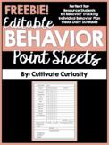 Freebie! Editable Behavior Point Sheets