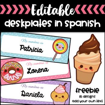 Freebie Editable Deskplates in Spanish