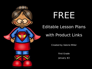 Freebie:  Editable First Grade Lesson Plans With Sample Plans #2