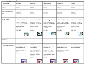 Freebie:  Editable First Grade Lesson Plans With Sample Plans