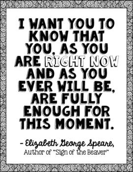 Freebie! Elizabeth George Speare Author Quote Art - Sign of the Beaver