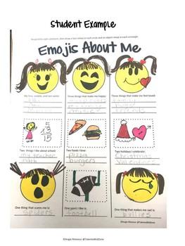 Freebie Back to School Emojis About Me
