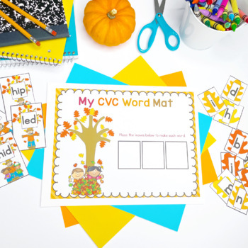 Fall Literacy Center: Making CVC Words with Leaves {Freebie}