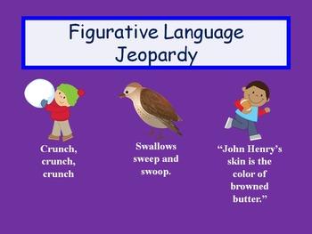 Freebie! Figurative Language Jeopardy Review Game