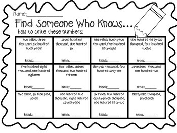 Freebie! Find Someone Who Knows-How to Write Numbers Through Millions