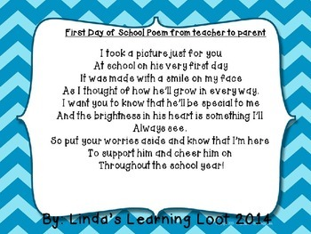 Freebie! First Day Poem from Teacher to Parent