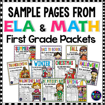 Freebie First Grade Math Worksheets and Literacy Worksheets