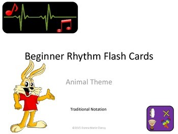 Freebie: Flashcards: Rhythm: Animal Pictures: Traditional Notation Only