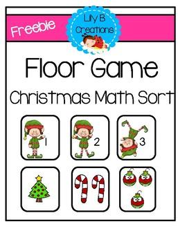 Freebie - Floor Game Christmas Math Sort