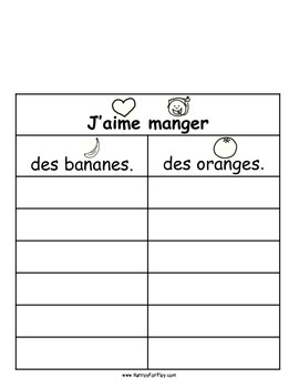 Freebie: Foods I Like Vol II - Surveys (French)