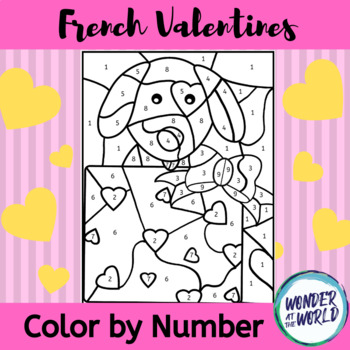 Freebie French Valentines color by number (French colors)
