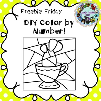 Freebie Friday 17:DIY Color by Number Clip Art: Cactus in a tea cup