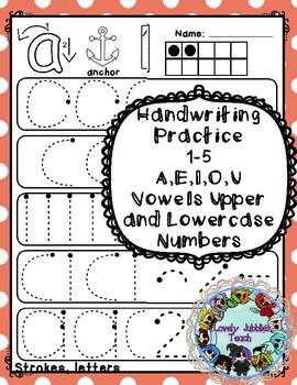 Freebie Friday 42: Handwriting Strokes Sample_ Vowels and numbers 1-5