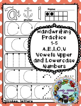 Freebie Friday 42: Handwriting Strokes Sample_ Vowels and numbers 1-5
