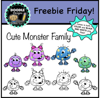 Freebie Friday! - Cute Monster Family Clipart