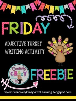 Friday Freebie Turkey Adjectives With Commas in a Series Practice