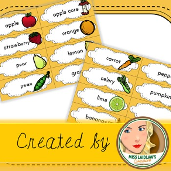 Freebie: Fruits and Veggies Word Wall cards