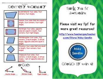{Freebie!} Geometry Vocabulary Sheet for Math Journals 3.G.1