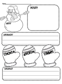 Freebie!  Get your Snow On!  Graphic Organizers and Vocabulary Maps