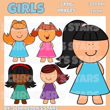 Freebie!  Girls in Dresses Clipart