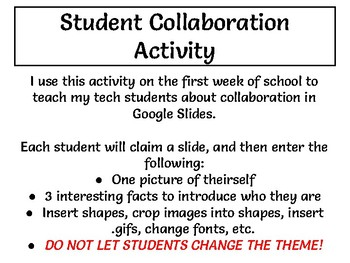 FREEBIE! Google Slides Student Collaboration - Back to School Intro Activity