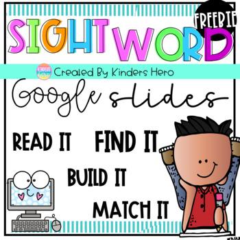 Freebie Kindergarten Sight Word Dolch for Google Slides Distance Learning