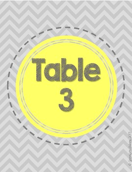 Freebie! Gray Chevron Table Signs #1-10