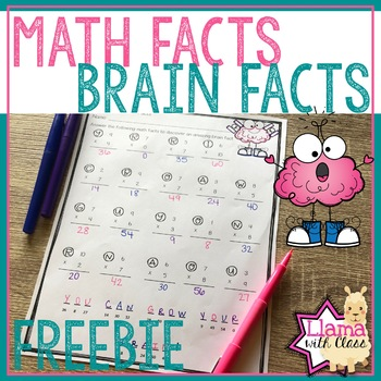 Freebie: Growth Mindset Brain Facts Through Multiplication Practice