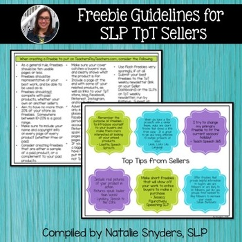 Freebie Guidelines for SLP Sellers on TpT