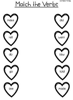 Heart Verb Match FREEBIE