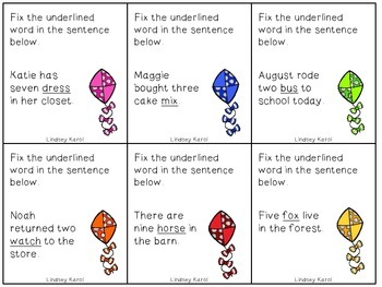 {Freebie} High-Flying Regular Plural Noun Kites: Ending in s, x, ch,  sh, j